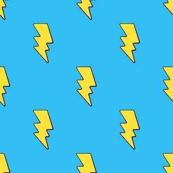 ベクトルイラストポップアートスタイルで黄色の電気稲妻とシームレスなパターン