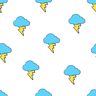 Vector illustration seamless pattern with yellow electric lightning bolts and blue clouds