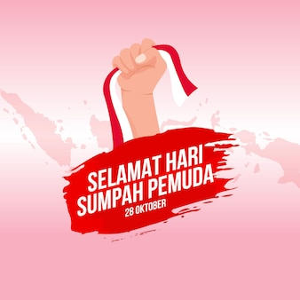 벡터 일러스트 레이 션. 셀라맛 하리 숨파 페무다. 번역: 행복한 인도네시아 청소년 서약. 인사말 카드, 포스터 및 배너에 적합
