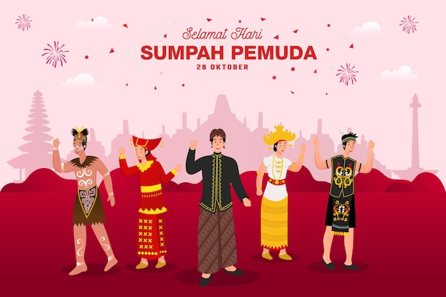Vector illustration. selamat hari sumpah pemuda. translation: happy indonesian youth pledge. suitable for greeting card, poster and banner.
