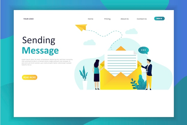 Vector illustration of sending message with email