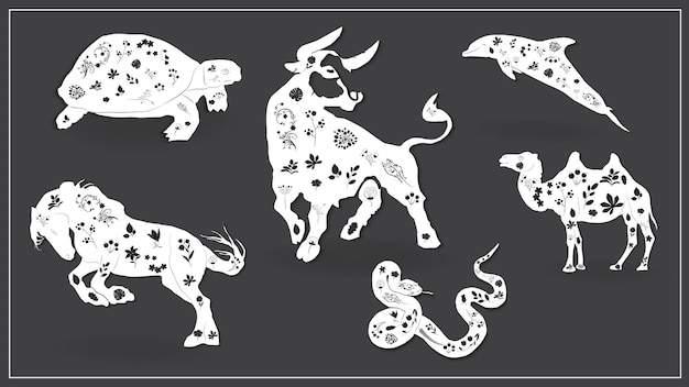 Vector illustration of a set of african animals. eps 10.