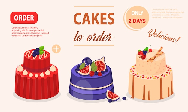 Vector illustration set of cakes