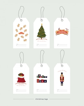 Vector illustration. set of christmas gift tags on white