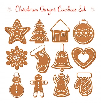 Vector illustration set of christmas gingerbread set with white decorative glaze. ginger cookies in christmas style isolated on white background in flat cartoon style.
