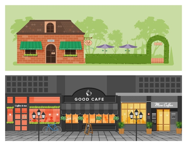 Vector illustration set of coffee shop,cafe loft style with street and garden