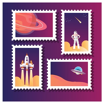 Vector illustration of set collection of postage stamp for astronaut and other space life