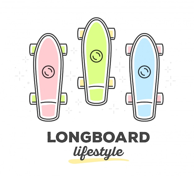 Vector illustration of set of colorful longboards with text on white background.