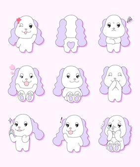 Vector illustration set of cute dog
