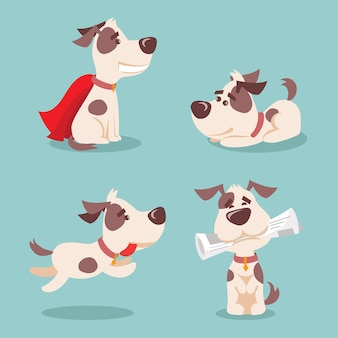Vector illustration set of cute and funny cartoon little dogspupies