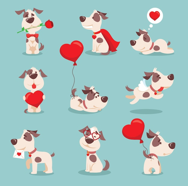 Vector illustration set of cute and funny cartoon little valentine dogs-pupies in love with heart, rose, wings and balloon