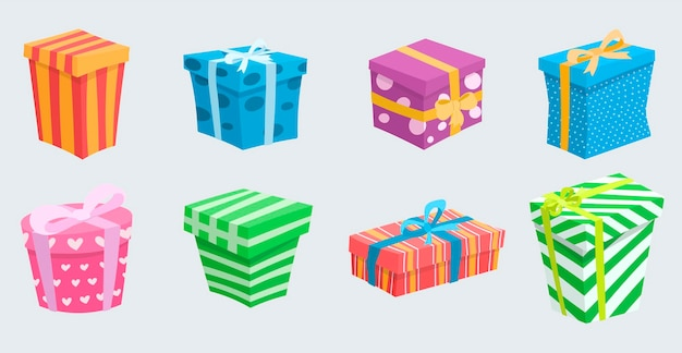 Vector illustration set of cute gifts of different shapes and colors. boxes with bows of bright colors. cartoon decorations for the festive background.
