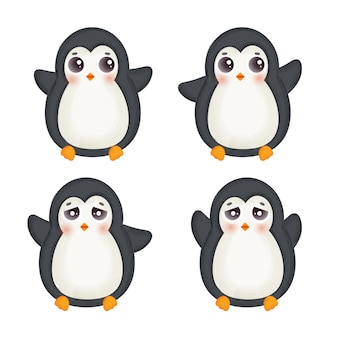 Vector illustration set of cute penguins