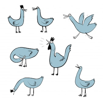 Vector illustration set design different emotion face of duck.