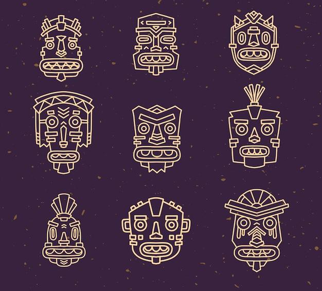 Vector illustration of set of ethnic tribal colorful masks on dark sand texture background.