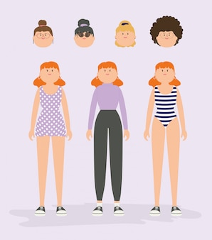 Vector illustration. set of female avatar characters.