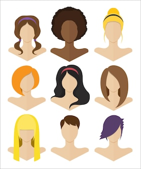 Vector illustration. set of female busts with hairstyles of various styles in a flat design
