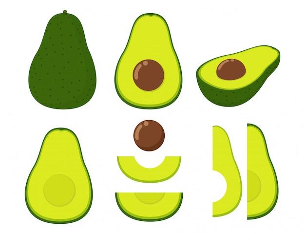 Vector illustration of set fresh avocado