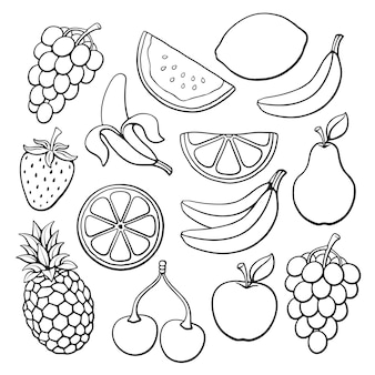 Vector illustration set of fruits and berries hand drawn doodles healthy vegetarian food