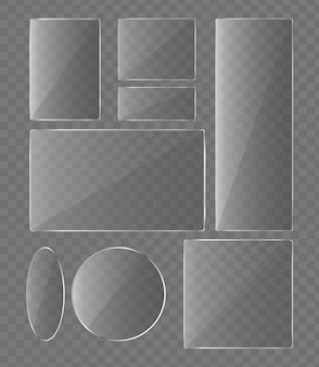 Vector illustration set of glass plates on transparent background. glass for phone collection.