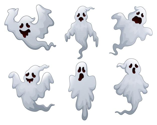 Vector illustration of set of halloween ghosts