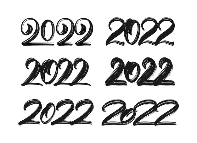 Vector illustration: set of handwritten lettering of 2022. happy new year. chines calligraphy