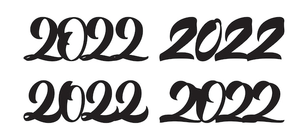 Vector illustration: set of handwritten lettering of 2022. happy new year.