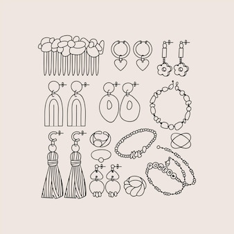 Vector illustration set of jewelry items. modern accessorizes - pearl necklace, beads, ring, earrings, bracelet, hair comb.