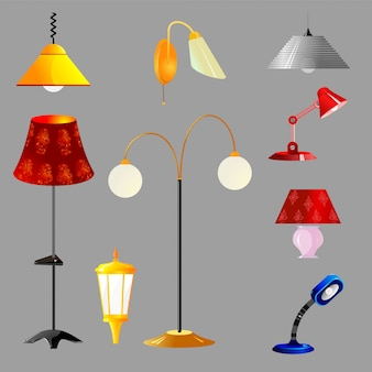 Vector illustration of a set of lamps