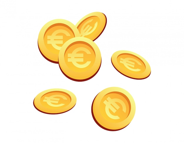 Vector illustration set many gold coins euro sign