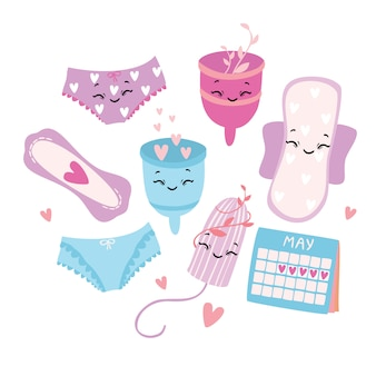 Vector illustration, set. menstruation. period. feminine hygiene products. menstrual cup. panties, pads, cups. menstrual protection, feminine hygiene.