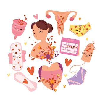Vector illustration set menstruation period feminine hygiene products menstrual cup