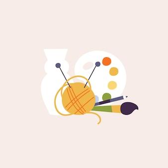 브러시와 연필 공이 있는 창의적인 취미 색상 페인트를 위한 예술 개체의 벡터 그림 세트