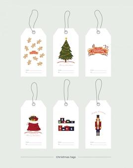 Векторные иллюстрации. набор рождественских подарочных тегов на белом