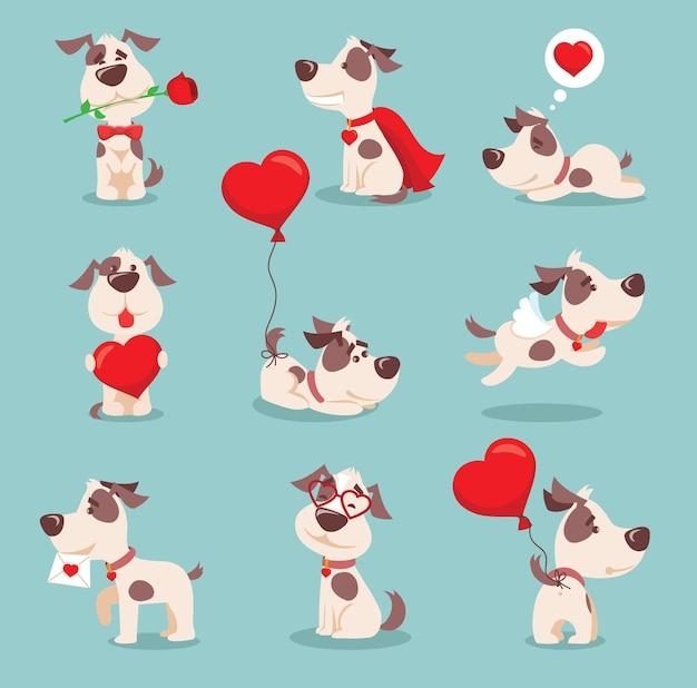 Векторная иллюстрация набор милых и забавных мультяшных маленьких собачек-щенков дня святого валентина, влюбленных в сердце, розу, крылья и воздушный шар