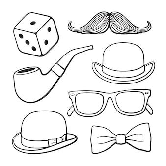 Векторная иллюстрация набор старинных аксессуаров джентльменов мужская мода и стиль