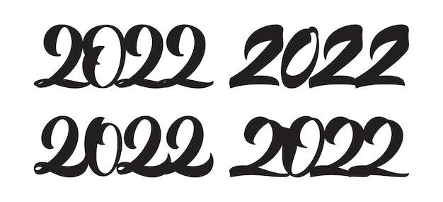 ベクトルイラスト:2022年の手書きのレタリングのセット。明けましておめでとうございます。