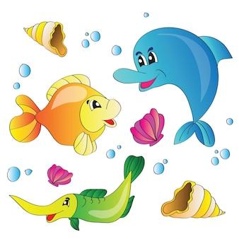 Векторная иллюстрация набор изображений морской жизни