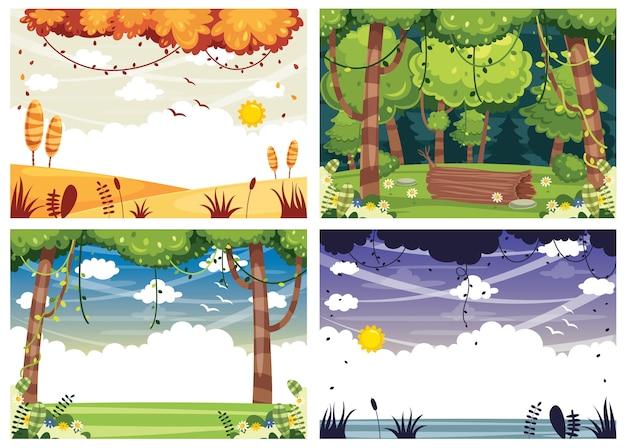 Векторные иллюстрации набор ландшафтов