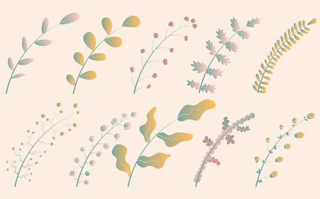 さまざまな形の葉の黄色と緑を持つ10のかわいいグラデーションの枝のベクトルイラストセット。