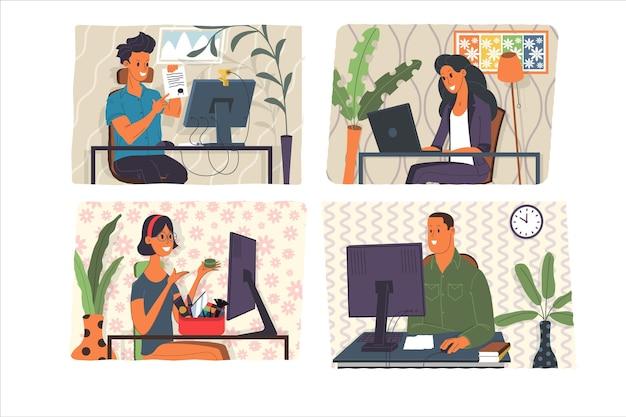 ウェビナー、オンライン会議、自宅から仕事、フラットデザインのベクトルイラストセット。ビデオ会議、テレワーク、社会的距離、ビジネスディスカッション。オンラインで同僚と話しているキャラクター。