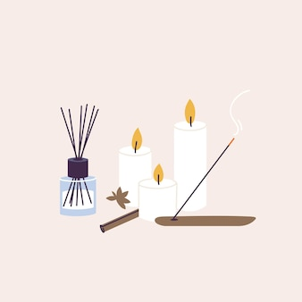 Vector illustration set of organic and natural products for spa and wellness procedure. aroma sticks and candles with essecial oil, herbal lotion.