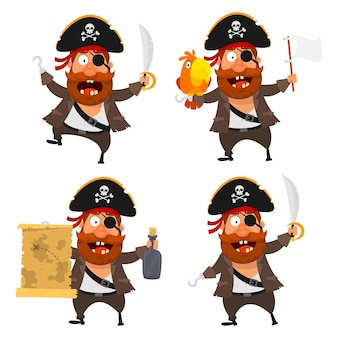 Vector illustration, set pirate character, format eps 10