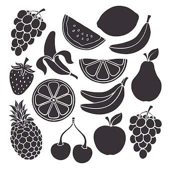 ベクトルイラストセット健康的なベジタリアン料理のシルエット