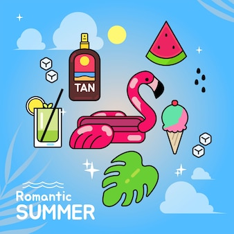 Vector illustration  set of summer elements