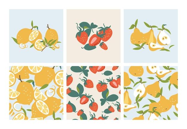 Векторная иллюстрация набор шаблонов летних фруктов цитрусовых груши и клубники бесшовные модели