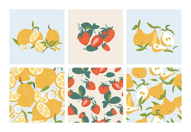 Vector illustration set template summer fruits citrus pear and strawberry seamless pattern