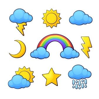 Vector illustration set weather symbols in cartoon style sun crescent star cloud rainbow