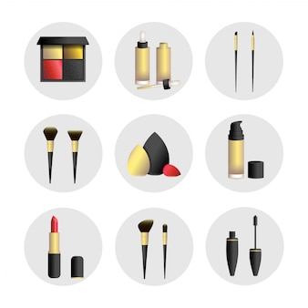 Vector illustration set with makeup tools