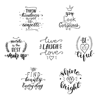 Vector illustration set with motivational lettering quotes